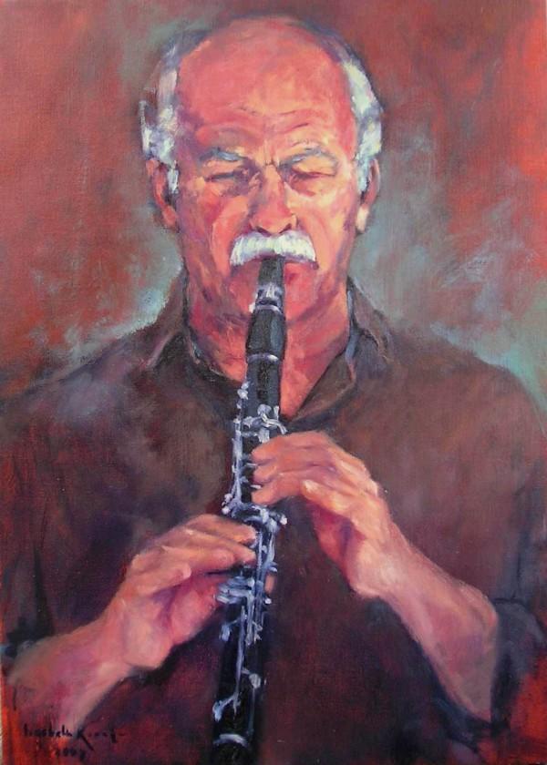 muzikant, met klarinet   (70*50)